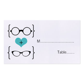 Aqua Geeky Glasses Wedding Place Cards Pack Of Standard Business Cards
