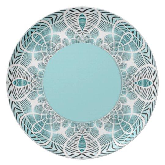 Aqua Geometric Plate