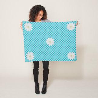 Aqua Gingham Daisy Small Fleece Blanket