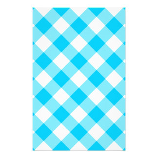 Aqua Gingham Pattern Stationery