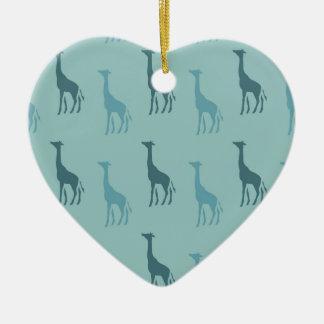 Aqua Giraffes Christmas Ornament