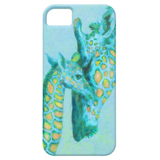 aqua giraffes iphone case