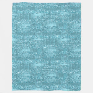 Aqua Glam Faux Glitter Stripes Fleece Blanket