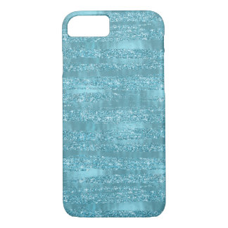 Aqua Glam Faux Glitter Stripes iPhone 8/7 Case
