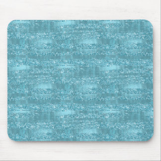 Aqua Glam Faux Glitter Stripes Mouse Mat