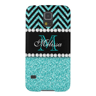 AQUA GLITTER BLACK CHEVRON MONOGRAM GALAXY S5 CASES
