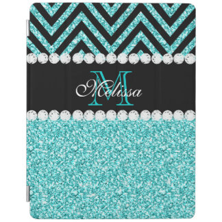 AQUA GLITTER BLACK CHEVRON MONOGRAM iPad COVER