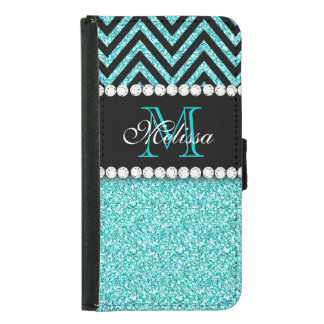 AQUA GLITTER BLACK CHEVRON MONOGRAM SAMSUNG GALAXY S5 WALLET CASE