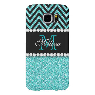 AQUA GLITTER BLACK CHEVRON MONOGRAM SAMSUNG GALAXY S6 CASES