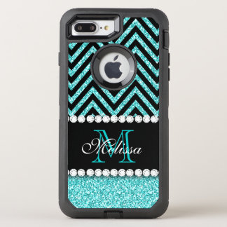 AQUA GLITTER BLACK CHEVRON MONOGRAMMED OtterBox DEFENDER iPhone 8 PLUS/7 PLUS CASE