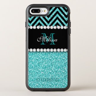 AQUA GLITTER BLACK CHEVRON MONOGRAMMED OtterBox SYMMETRY iPhone 7 PLUS CASE