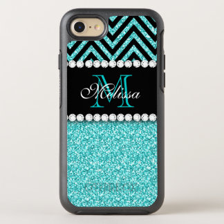 AQUA GLITTER BLACK CHEVRON MONOGRAMMED OtterBox SYMMETRY iPhone 8/7 CASE