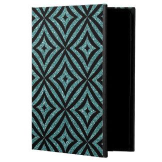 Aqua Glitter Black Pattern Girly iPad Case