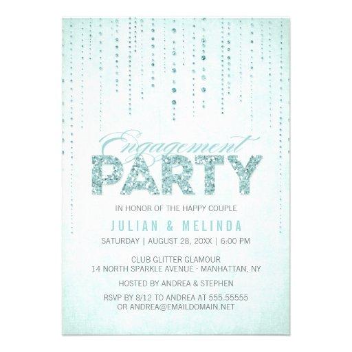 Aqua Glitter Look Engagement Party Invitation