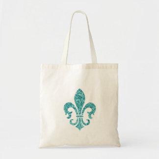 Aqua Glitter Look Fleur de Lis Tote Bag