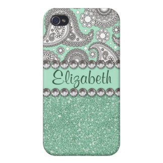 Aqua Glitter Paisley Rhinestone Pattern iPhone 4/4S Cases
