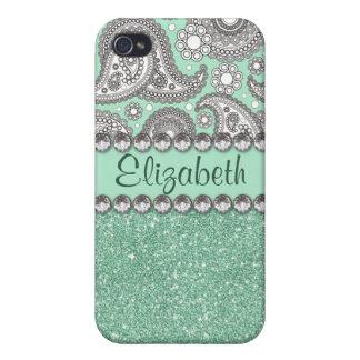 Aqua Glitter Paisley Rhinestone Pattern iPhone 4/4S Cases