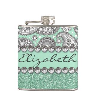 Aqua Glitter Paisley Rhinestone Print Pattern Hip Flask