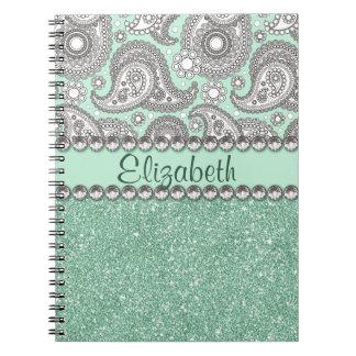 Aqua Glitter Paisley Rhinestone Print Pattern Notebooks