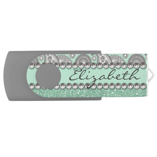 Aqua Glitter Paisley Rhinestone Print Pattern USB Flash