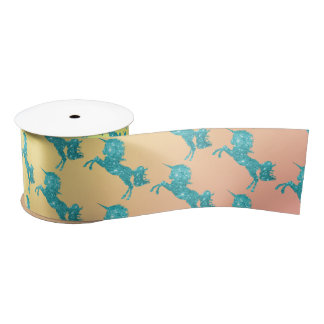 Aqua Glitter Unicorn Satin Ribbon