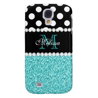 AQUA GLITTER WHITE POLKA DOTS MONOGRAM GALAXY S4 CASE