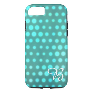 Aqua glow blue dots monogrammed iPhone 8/7 case