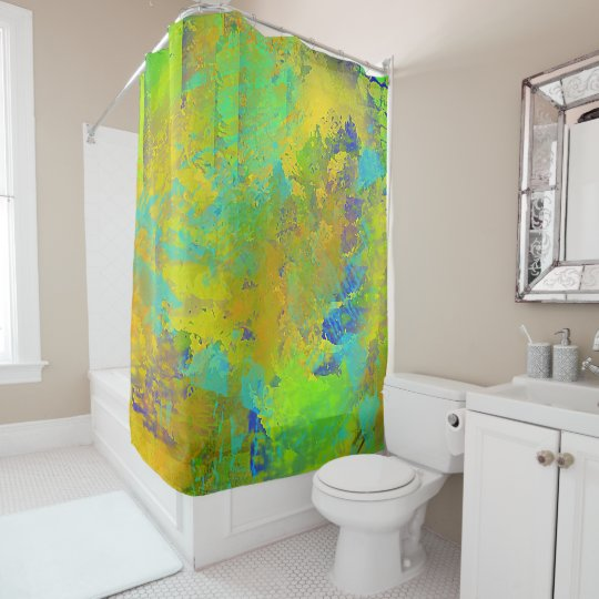 Aqua, Gold, and Green Abstract Shower Curtain