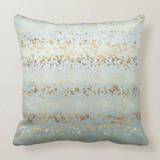 Aqua Gold Confetti Ombre Cushion