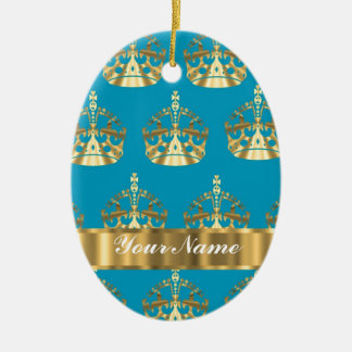 Aqua & gold crown pattern christmas ornament
