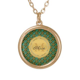 Aqua Gold Elegant Abstract Circles Graphic Necklaces