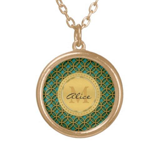 Aqua Gold Elegant Abstract Circles (Graphic) Necklaces