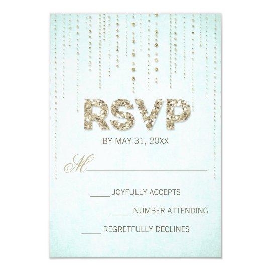 Aqua & Gold Glitter Look Wedding RSVP Card