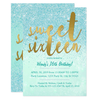 Aqua & Gold Glitter Sweet 16 Party Invitations