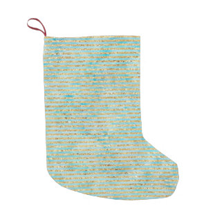 Aqua Gold Watercolor Stripes Small Christmas Stocking