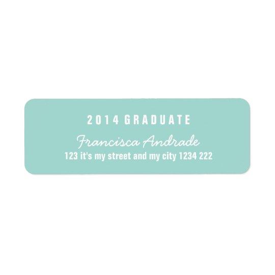 Aqua Graduation Modern High School 2014 Graduate Return Address Label