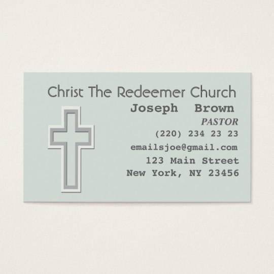Aqua Graphic Christian Cross Religion Missionary Business Card