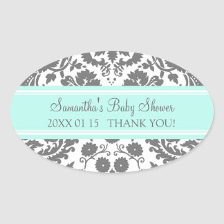 Aqua Gray Damask Baby Shower Favor Stickers