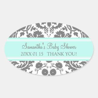 Aqua Gray Damask Baby Shower Favor Stickers