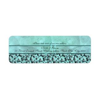 "Aqua gray ""new address"" wedding floral damask return address label"