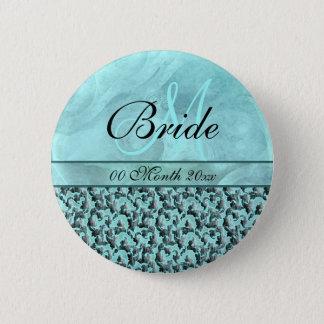aqua gray wedding bride floral damask 6 cm round badge