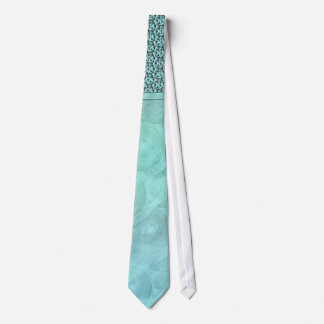 Aqua gray wedding floral damask tie
