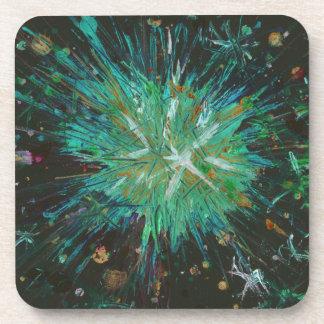 Aqua Green Abstract Art Star Acrylic Painting Coaster