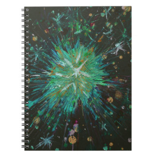 Aqua Green Abstract Art Star Acrylic Painting Notebook