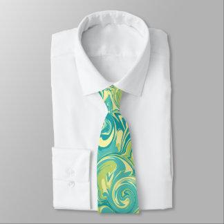 Aqua, Green, and Yellow Marble Swirl Tie