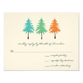 Aqua Green Coral Forest Pine Tree Wedding Card