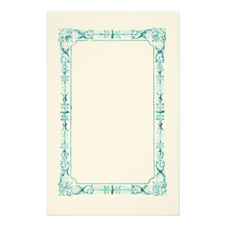 Aqua Green Fancy Frame Stationery