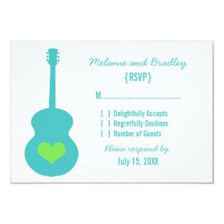 "Aqua/Green Guitar Heart Response Card 3.5"" X 5"" Invitation Card"