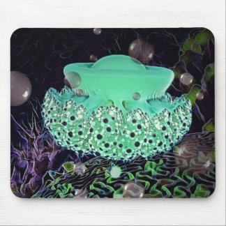 Aqua Green Jellyfish Mouse Pad by Artful Oasis