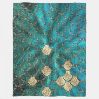 Aqua green Mermaidscales with gold glitter Fleece Blanket